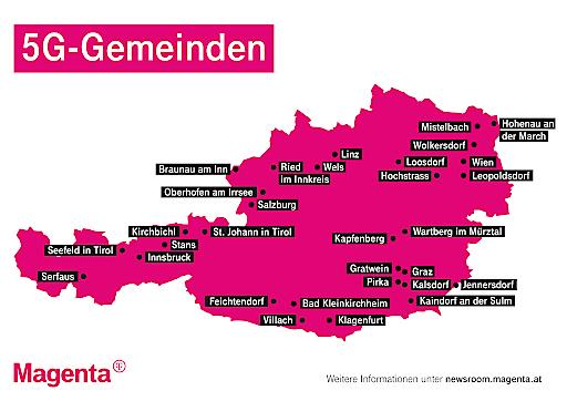 Bis Jahresende werden 58 5G-Antennen in 31 5G-Gemeinden von Magenta Telekom in Betrieb sein.