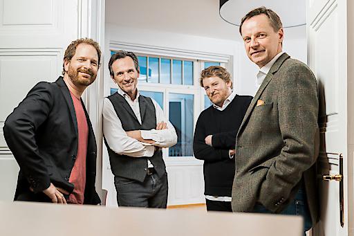 Geschäftsführer-Quartett: vlnr. Phil Hewson, Erich Falkner, Patrick Partl und Fred Reiss