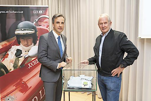 Bürgermeister Siegfried Nagl und Motorsportlegende Helmut Marko präsentieren die Highlights des Gedenkjahres 2020