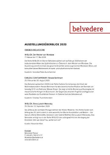 BELVEDERE: Ausblick auf das Museumsjahr 2020
