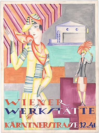"""Vally Wieselthier, Werbung für die Mode der """"Wiener Werkstätte Kärntnerstrasse 32 u. 41"""", Wien, vor 1928"""