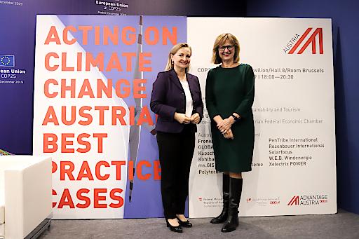 WKÖ-Vizepräsidentin Rabmer-Koller mit Bundesministerin für Nachhaltigkeit und Tourismus Maria Patek
