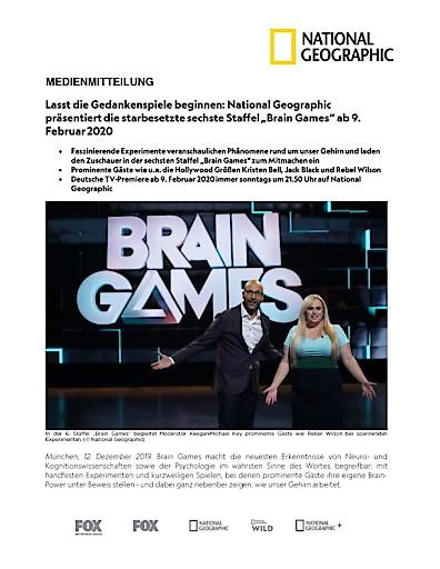 """Lasst die Gedankenspiele beginnen: National Geographic präsentiert die starbesetzte sechste Staffel """"Brain Games"""" ab 9. Februar 2020 (FOTO)"""