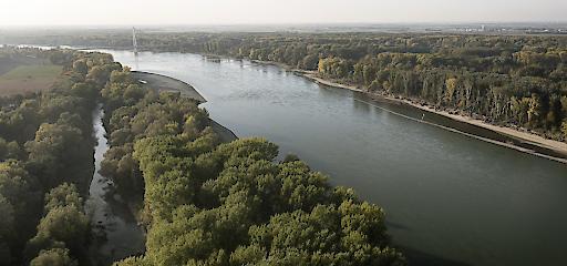 Luftaufnahme Donauverlauf nahe Hainburg