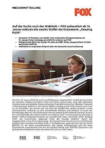 """Auf der Suche nach der Wahrheit - FOX präsentiert ab 14. Januar exklusiv die zweite Staffel der Dramaserie """"Keeping Faith"""" (FOTO)"""