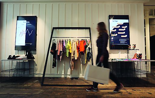 A customer shops at The Trending Store, the UKs first ever AI powered fashion store in Westfield London, the first of its kind that changes its stock as social trends change.