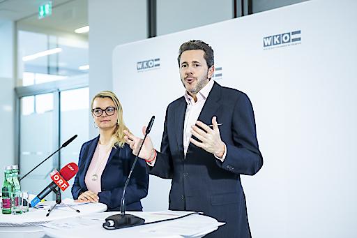 """Pressegespräch """"Gründerboom hält an"""": WKÖ-Präsident Harald Mahrer und JW-Bundesvorsitzende Christiane Holzinger präsentieren die Gründerzahlen für 2019."""