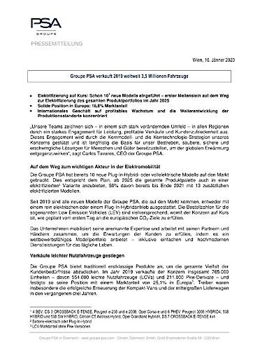 Groupe PSA verkauft 2019 weltweit 3,5 Millionen Fahrzeuge