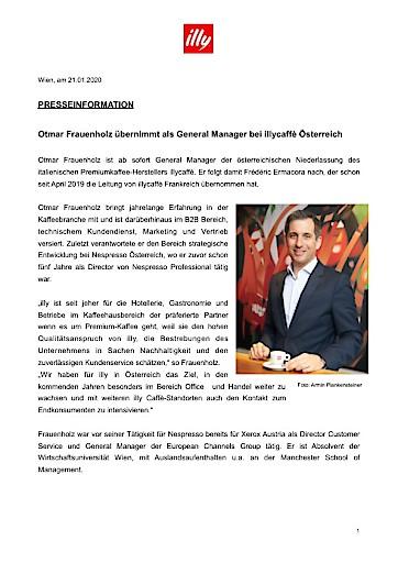 Otmar Frauenholz übernimmt als General Manager bei illycaffè Österreich