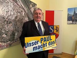"""""""Unser Paul macht das!"""": Mit diesem Slogan geht Simmerings Bezirksvorsteher Paul Stadler in den Wahlkampf"""