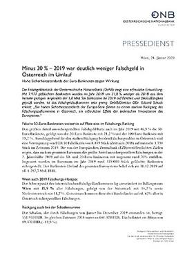 Minus 30 Prozent – 2019 war deutlich weniger Falschgeld in Österreich im Umlauf