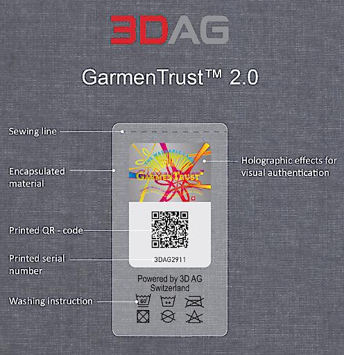 """GarmenTrust 2.0 Weiterer Text über ots und www.presseportal.ch/de/nr/100072822 / Die Verwendung dieses Bildes ist für redaktionelle Zwecke honorarfrei. Veröffentlichung bitte unter Quellenangabe: """"obs/3D AG"""""""