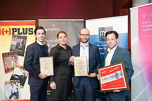 : Das Siegerteam (v.l.n.r.): Konrad Wieland (LieberLieber), Salomé Wagner (LieberLieber), Willibald Krenn (AIT), Michael Mürling (AIT);