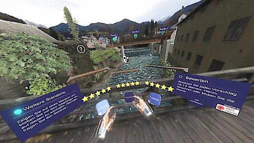 Screenshot der VR-Umgebung zur Auswahl der Brücke in Scheibbs mit BRZ eDem -Integration
