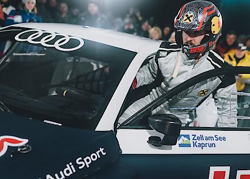 Marcel Hirscher gab im Audi S1 EKS WRX quattro sein Debüt beim GP Ice Race Zell am See-Kaprun und begeisterte vor 16.000 Zusehern