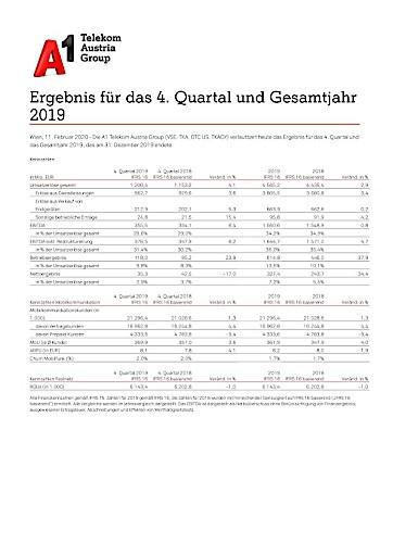EANS-News: Telekom Austria AG / Ergebnis für das 4. Quartal und Gesamtjahr 2019