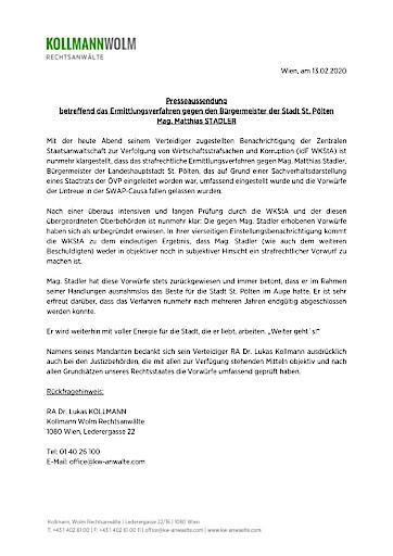 Stellungnahme von Bürgermeister Mag. Matthias Stadler zur Einstellung des Ermittlungsverfahrens