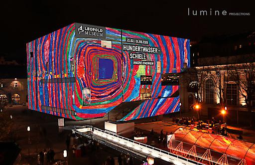 """Fassadenprojektion am Leopold Museum, Wien anlässlich der Eröffnungswoche der Ausstellung """"Hundertwasser -Schiele. Imagine Tomorrow"""", Fotomontage / Mockup, Februar 2020"""