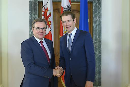 LH Günther Platter und Bundeskanzler Sebastian Kurz im Innsbrucker Landhaus.