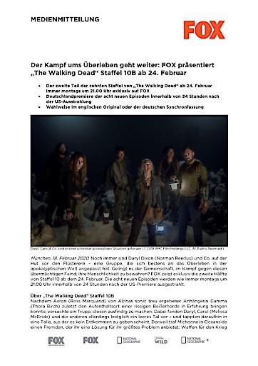 """Der Kampf ums Überleben geht weiter: FOX präsentiert """"The Walking Dead"""" Staffel 10B ab 24. Februar (FOTO)"""
