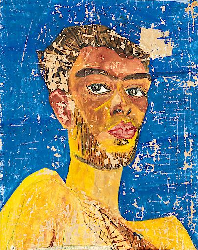 Friedensreich Hundertwasser (1928 – 2000), 107 Selbstbildnis, 1951, Aquarell auf grundiertem Packpapier, 41 × 33 cm, Die Hundertwasser Gemeinnützige Privatstiftung, Wien