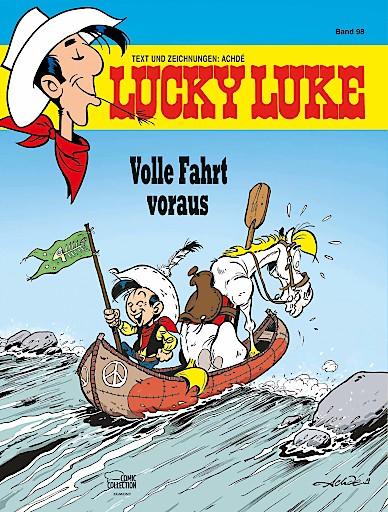 """Cover vom Lucky Luke Band 98 """"Volle Fahrt voraus"""" / Weiterer Text über ots und www.presseportal.de/nr/8146 / Die Verwendung dieses Bildes ist für redaktionelle Zwecke honorarfrei. Veröffentlichung bitte unter Quellenangabe: """"obs/Egmont Ehapa Media GmbH/© Lucky Comics 2020"""""""