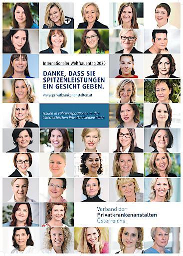 Poster Weltfrauentag 2020 - Danke, dass Sie Spitzenleistungen ein Gesicht geben - Verband der Privatkrankenanstalten Österreichs