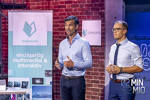"""Das Linzer Start-up presono ist DIE professionelle Software für einzigartige Präsentationen. Jetzt sicherten sich Lukas Keller und Martin Behrens (re.) in """"2 Minuten 2 Millionen"""" 1 Million Euro."""