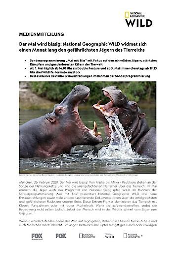 Der Mai wird bissig: National Geographic WILD widmet sich einen Monat lang den gefährlichsten Jägern des Tierreichs (FOTO)