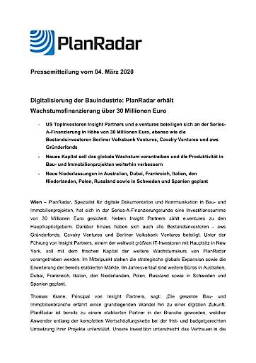 PlanRadar erhält Wachstumsfinanzierung über 30 Millionen Euro