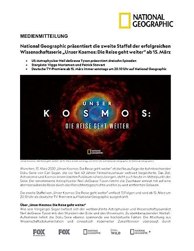 """National Geographic präsentiert die zweite Staffel der erfolgreichen Wissenschaftsserie """"Unser Kosmos: Die Reise geht weiter"""" ab 15. März (FOTO)"""