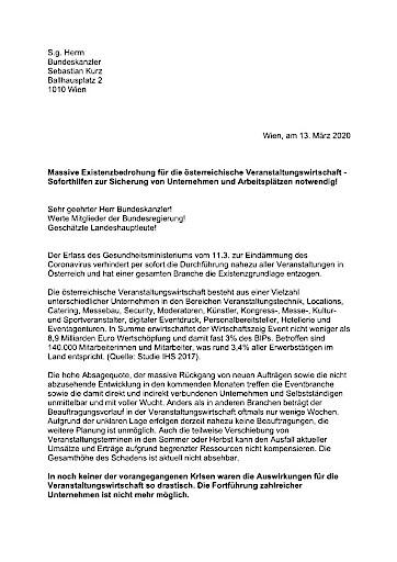 Offener Brief an Bundeskanzler Sebastian Kurz: Massive Existenzbedrohung für die österreichische Veranstaltungswirtschaft