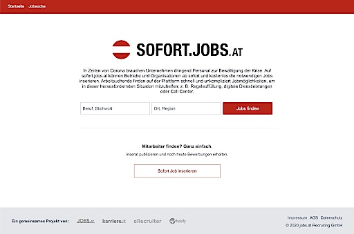 Das kostenlose Portal sofort.jobs.at hilft Unternehmen und Arbeitsuchenden.