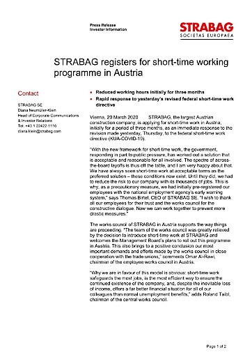 EANS-News: STRABAG registers for short-time working programme in Austria