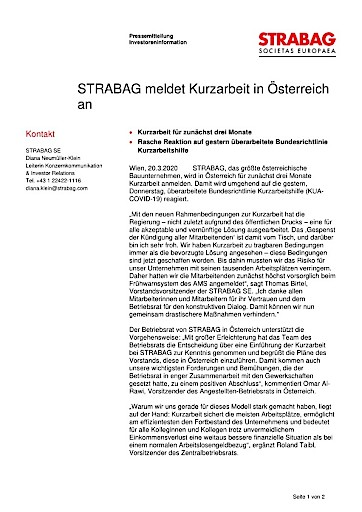 EANS-News: STRABAG meldet Kurzarbeit in Österreich an