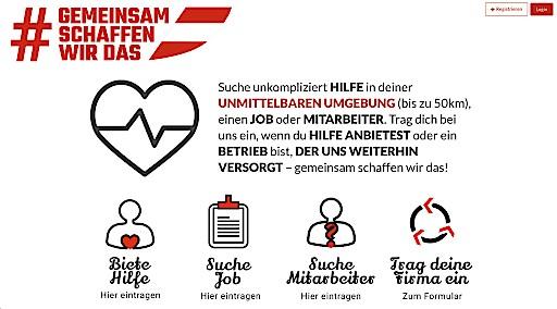Schreenshot von Soforthilfe-Plattform gemeinsamschaffenwirdas.at. Diese ist ab sofort für ganz Österreich zugänglich.