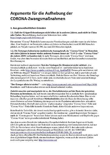 Offener Protest-Brief an Politik und Medien: Aufruf zur AUFHEBUNG der CORONA-ZWANGSMASSNAHMEN!