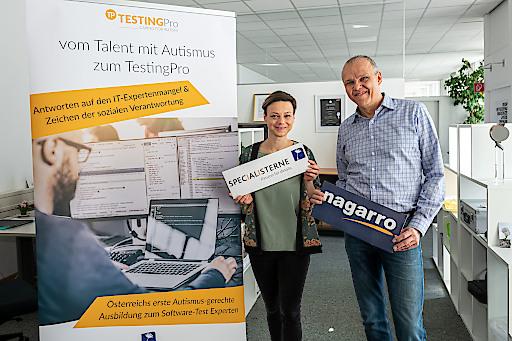 Christine Krautzer (Specialisterne Austria) und Hannes Färberböck (Nagarro)
