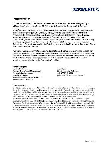 """EANS-News: CoViD-19: Semperit unterstützt Initiative der österreichischen Bundesregierung – """"Glove-liner"""" bringen mehr als 60 Millionen Schutzhandschuhe nach Österreich"""