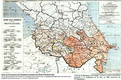 Karte der Demokratischen Republik Aserbaidschan, 28.05.1918-28.04.1920. Diese Karte wurde für die Pariser Friedenskonferenz gezeichnet. Die Siegermächte haben die Demokratische Republik Aserbaidschan am 11. Januar 1920 anerkannt.