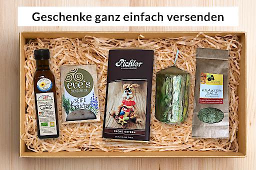 """Produktabbilung Paket """"Ostern"""". Es stehen Pakete für verschiedene Anlässe zur Verfügung, diese können auch an eine abweichende Lieferadresse gesendet werden, außerdem kann eine Grußkarte mit Botschaft hinzugefügt werden."""