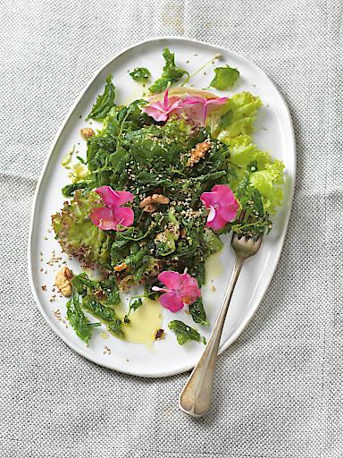 """Bild aus dem Kochbuch """"Kochen mit der Kraft der Natur - Wie die Liebe in den Kochtopf kommt"""" - Brennnesselsalat"""