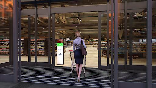 Zutrittsmanagement zeigt grünes Licht, wenn Eintritt weiterhin möglich ist.