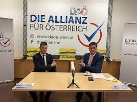 Pressekonferenz Karl Baron: Covid-19-Maßnahmen und Präsentation des neuen Landessprechers der 'Allianz für Österreich' im Burgenland.