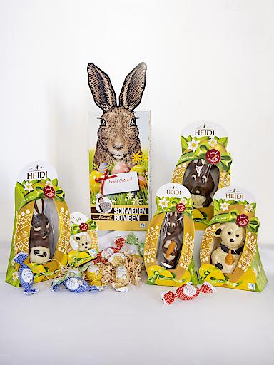 Osterpaket mit Produkten von Heidi Chocolat Niemetz Schwedenbomben.