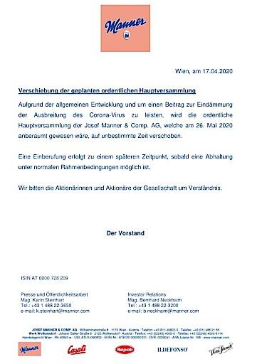 EANS-News: Josef Manner & Comp. AG / Verschiebung der geplanten HV