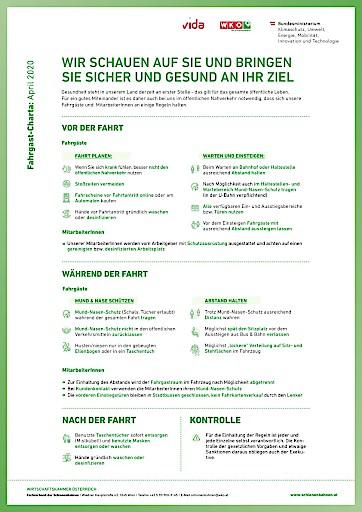 Fahrgast-Charta: Österreichweiter Schulterschluss für einen sicheren und gesunden Fahrbetrieb im öffentlichen Nahverkehr