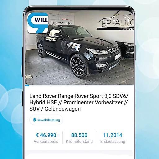 """Wennst mitm Range Rover Hybrid ham kummst: Ehemaliges Auto von Christopher Seiler / """"Seiler und Speer"""" auf willhaben angeboten"""