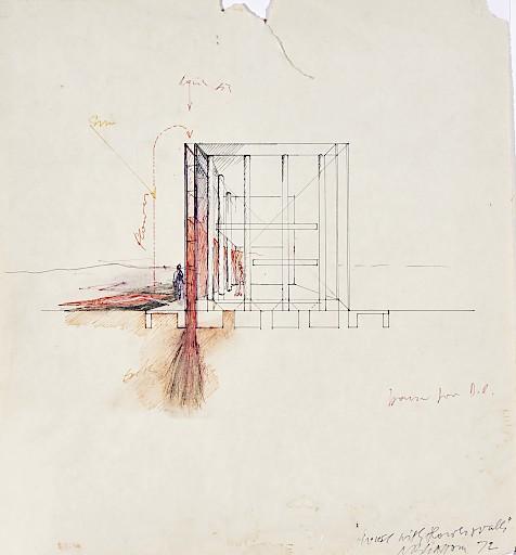 """Raimund Abraham, """"House with Flower Walls. 10 Houses"""", 1972; Tusche, Bleistift auf Papier Privatsammlung"""