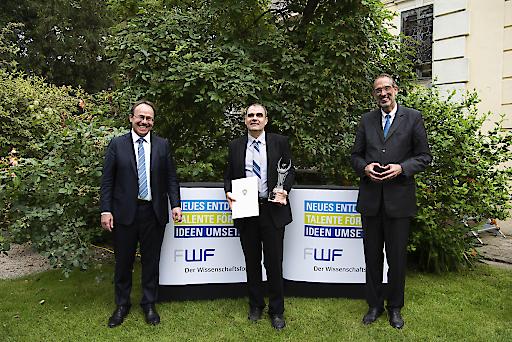 (v.l.n.r.) FWF-Präsident Klement Tockner, Wittgenstein-Preisträger 2020 Adrian Constantin, Wissenschaftsminister Heinz Faßmann